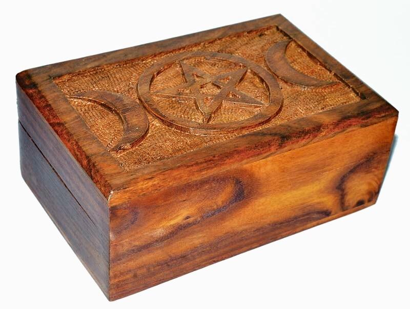 Triple Moon Goddess W Pentagram Wood Box 4x6 B46tg 1395