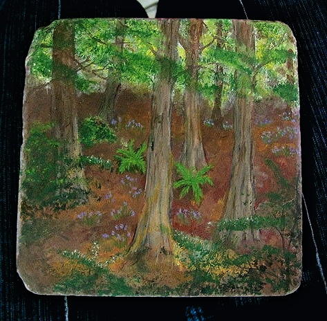 Painting Forest Floor Painted Forest on 6x6 Stone